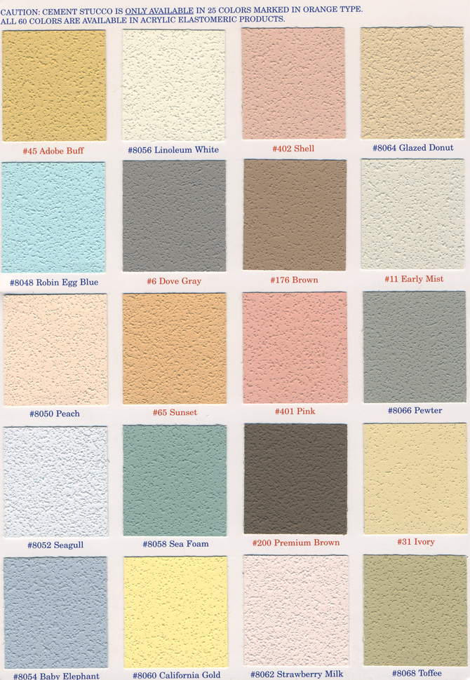 CALIFORNIA STUCCO COLORS 1